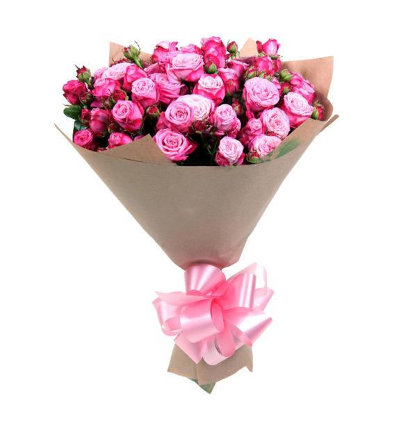 Букет кустовых роз Розовая симфония