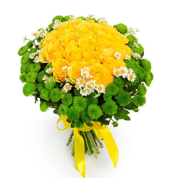 Букет желтых роз и хризантем Солнечный день