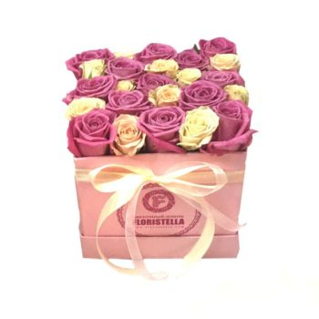 Lovely box аква с розовой и бежевой розами
