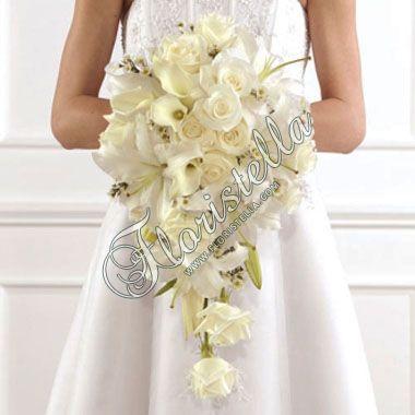 Каскадный букет невесты Цветочный домик Флористелла