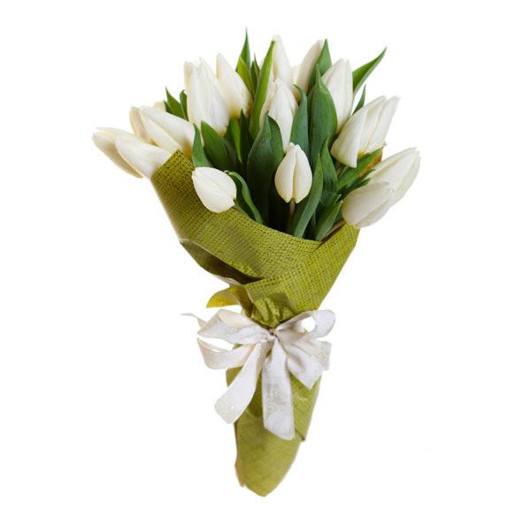 Букет 21 белый тюльпан