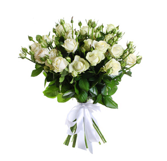 Букет из 17 белых роз спрей