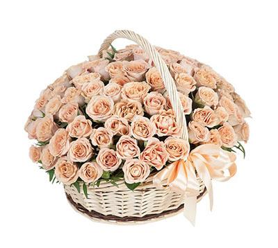 Корзина 101 роза Капучино