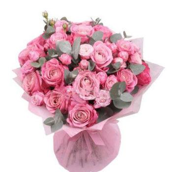 Букет из 5, 7,11 розовых роз Бомбастик