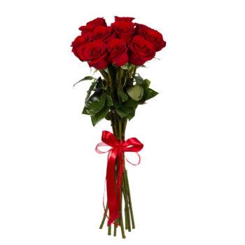Букет 9 красных роз для принцессы