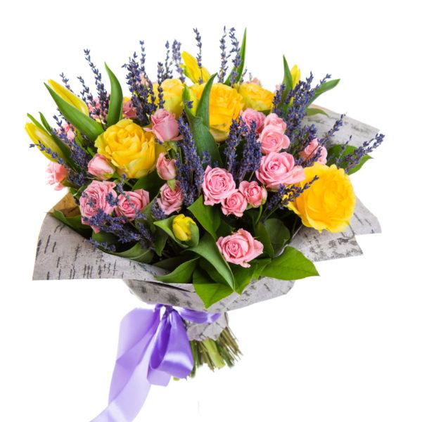 Букет из роз, тюльпанов и Вероники