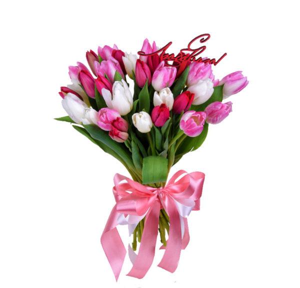 Букет белых и розовых тюльпанов Love