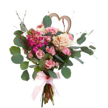 Букет из роз, гиацинта и эвкалипта Трепет чувств