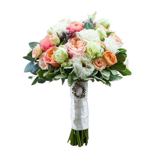 Бело-персиковый букет невесты