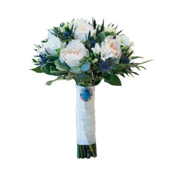 Кремово-синий букет невесты