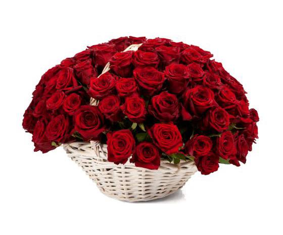 Корзина красных роз Красный рубин