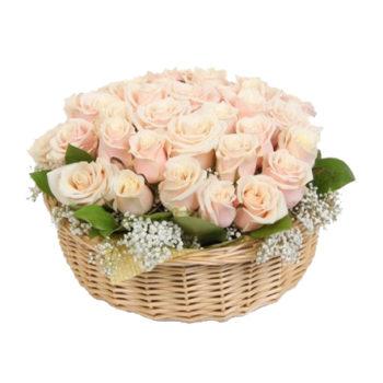 Корзина с кремовой розой Талея