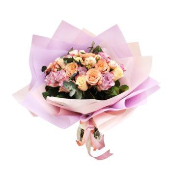 Букет с розой капучино и лиловой розой