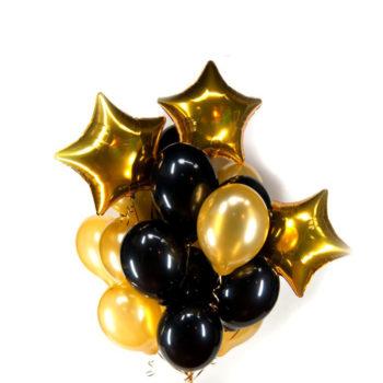 Облако из черных и золотых шаров