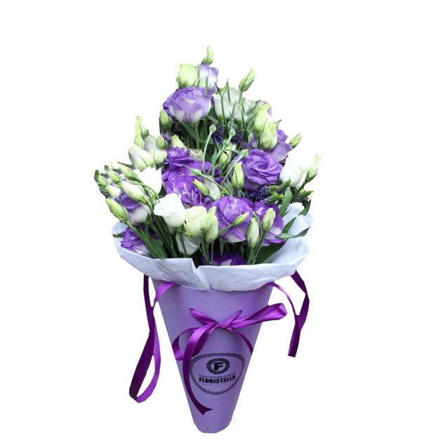 Букет с фиолетовой эустомой в конусе